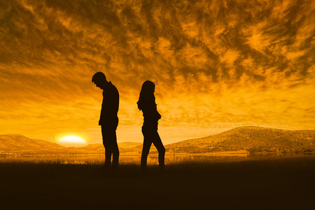 Photo for Upset couple not talking to each other after fight against beautiful african scene - Royalty Free Image