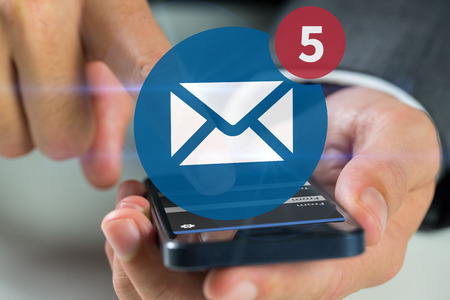 Businessman using smartphone against five text messages received