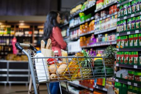 Foto de Various groceries in shopping cart in grocery section of supermarket - Imagen libre de derechos