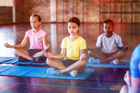 Photo pour School kids meditating during yoga class in basketball court at school gym - image libre de droit