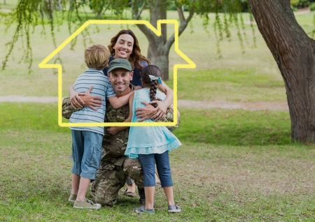 Photo for Digital composition of family hugging each other in the park against house outline in background - Royalty Free Image