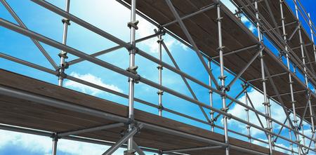 Photo pour 3d image of construction scaffolding against blue sky - image libre de droit