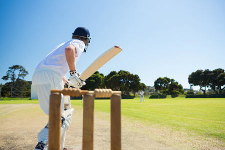 Photo pour Side view of cricket player batting while playing on field against clear sky - image libre de droit