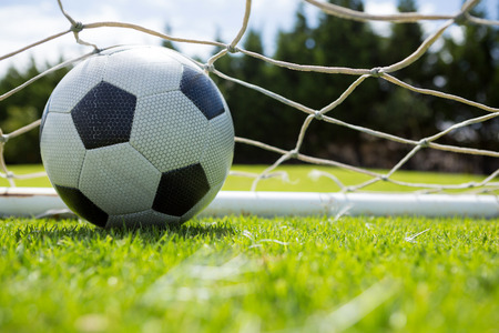Close up of soccer ball in goal post at field