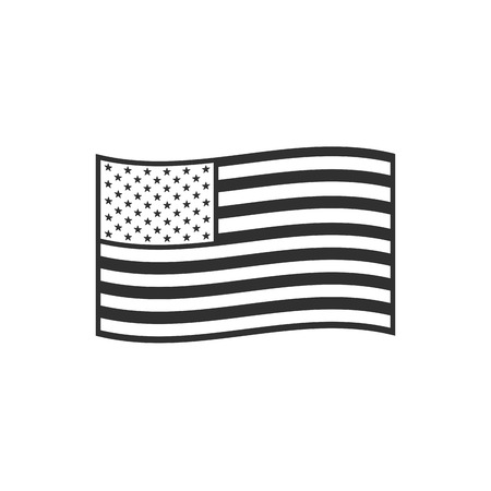 Illustrazione per United States flag icon in black outline flat design. Independence day or National day holiday concept. - Immagini Royalty Free