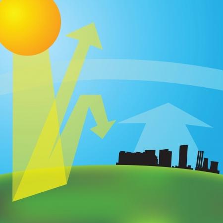 Ilustración de greenhouse effect (vector illustration). Global warming. - Imagen libre de derechos