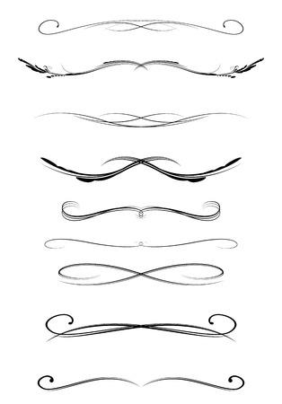 Illustration pour set of calligraphic lines dividers, vector illustration - image libre de droit