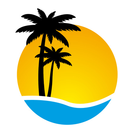 Illustration for Sunset and palm trees on island, vector illustration - Royalty Free Image