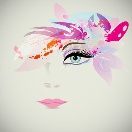 Illustration pour Woman face with design elements, fashion concept. Vector illustration - image libre de droit