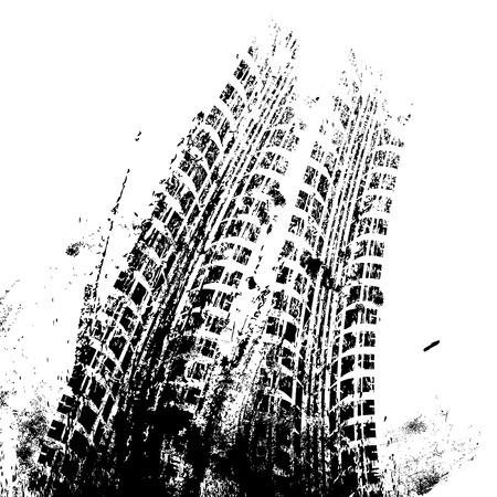 Ilustración de Background with grunge black tire track , vector illustration - Imagen libre de derechos