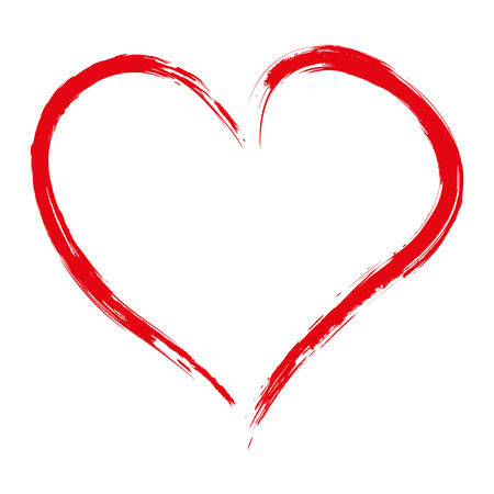 Ilustración de Hand drawn red heart isolated on white background, vector illustration - Imagen libre de derechos