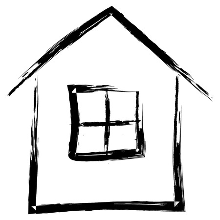Illustration pour Simple hand drawn house isolated on white background, vector illustration - image libre de droit