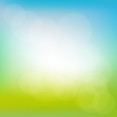 Illustration pour Abstract spring or summer sunny background with blue sky and green meadow, illustration - image libre de droit