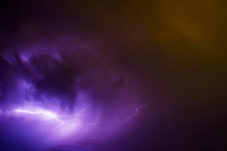 Big storm bringing thunder, lightnings and rain.