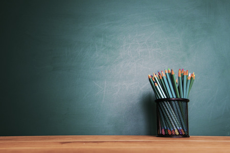 Photo for Back to school background with tablet, pencils - Royalty Free Image
