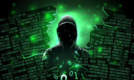Illustration pour Hacker using the Internet hacked abstract computer server, database, network storage, firewall, social network account, theft of data - image libre de droit
