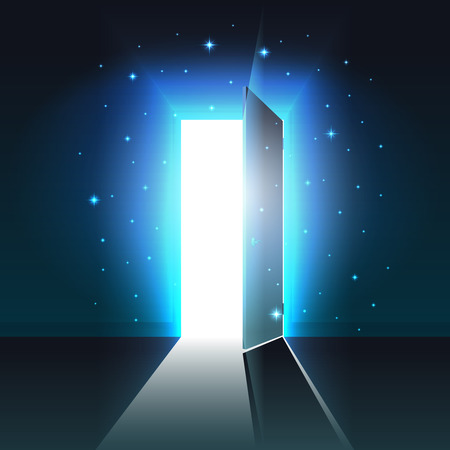 Illustration pour Mystical light from the open door of a dark room, abstract glowing exit, background, open door template, mock up - image libre de droit