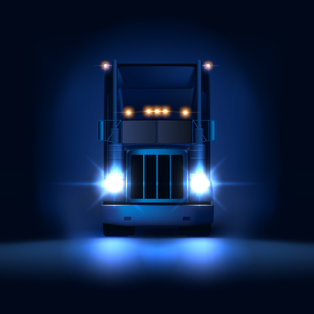 Illustration pour Night large classic big rig semi truck with headlights and dry van semi riding on the dark night background front view, vector illustration - image libre de droit