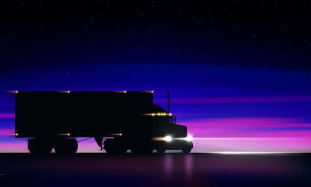 Illustration pour Truck moving on the highway at night. Classic big rig semi truck with headlights and dry van in the dark on the night road on bright starry sky background, vector illustration - image libre de droit