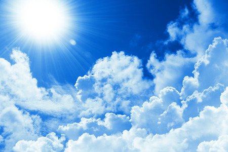Photo for Beautiful blue sky white cloud and sunshine. Religion concept heavenly background. Divine heavenly light. Sunny day. Peaceful nature background - Royalty Free Image