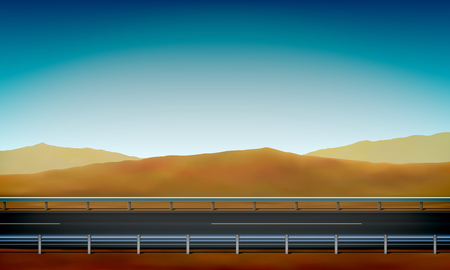 Illustration pour Side view of a road with a crash barrier, roadside, desert with sand dunes and clear blue sky background, vector illustration - image libre de droit