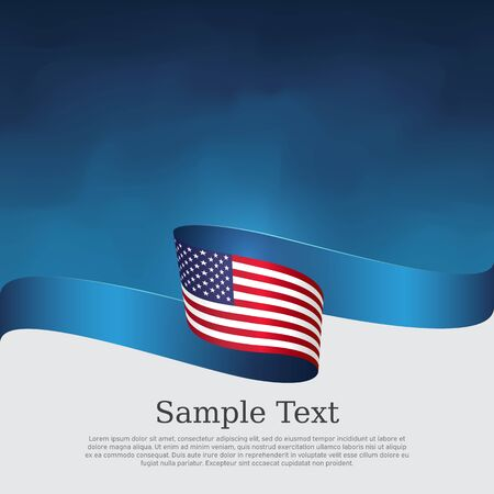 Ilustración de USA flag background. Wavy ribbon color flag of usa on a blue white background. National american poster. Vector tricolor design. State american patriotic banner, cover, flyer - Imagen libre de derechos