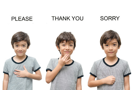 Photo pour Please thank you sorry kid hand sign language on  - image libre de droit