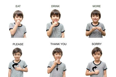 Foto de kid hand sign language on white background - Imagen libre de derechos