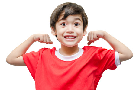 Foto per Little boy showing his muscles on white background - Immagine Royalty Free