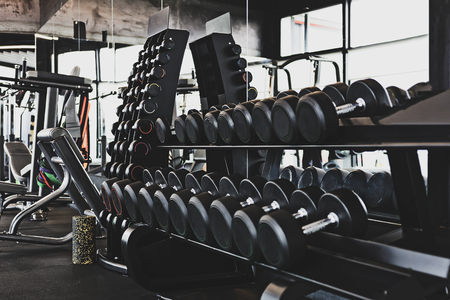 Collection of metal dumbbells for a exercise in the fitness center or the gym ( reduced tones).