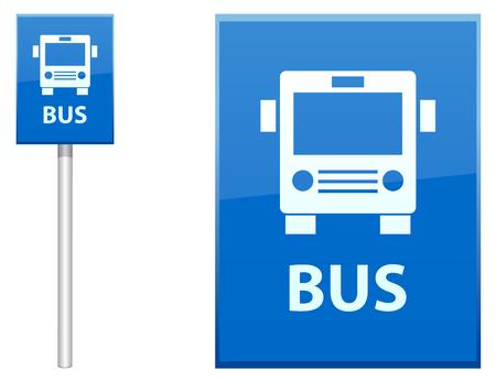 Illustration pour Bus Stop sign post vector icon - image libre de droit