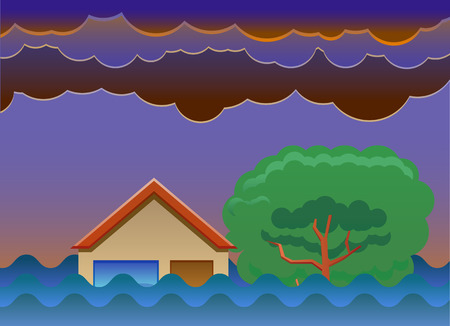 House submerged by flood vector icon