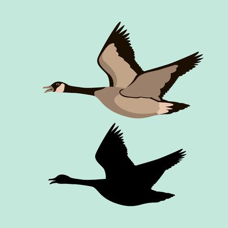 Illustration pour goose vector illustration style Flat black silhouette - image libre de droit