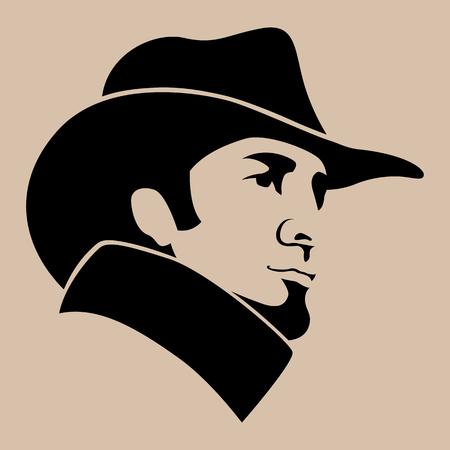 Illustrazione per man in hat  face  vector illustration flat style   profile side - Immagini Royalty Free