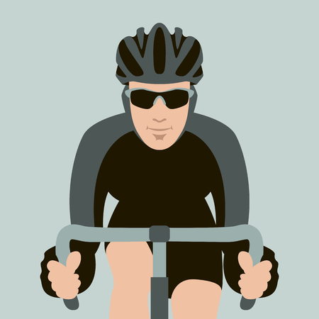 Illustrazione per bicyclist  face vector illustration flat style front view - Immagini Royalty Free