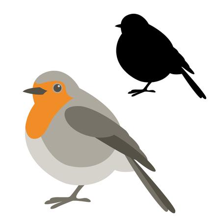 Ilustración de robin bird vector illustration flat style black silhouette - Imagen libre de derechos