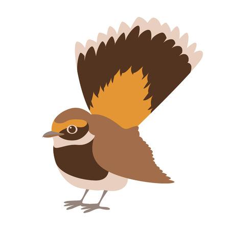 Illustration pour flycatcher rufous fantail vector illustration flat style profile side - image libre de droit