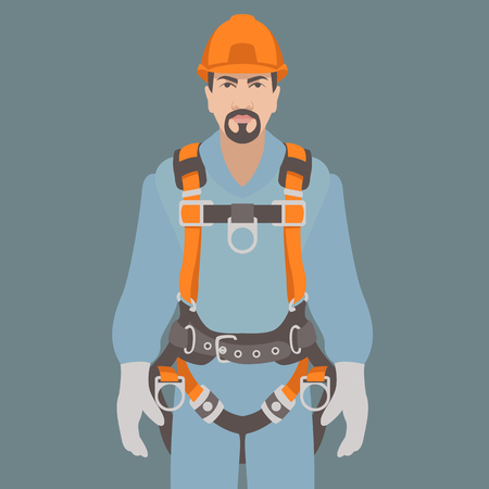 Ilustración de worker climbing safety belt vector illustration flat style - Imagen libre de derechos