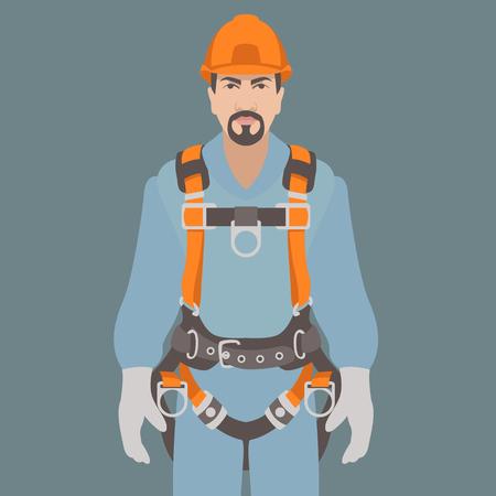 Illustration pour worker climbing safety belt vector illustration flat style - image libre de droit