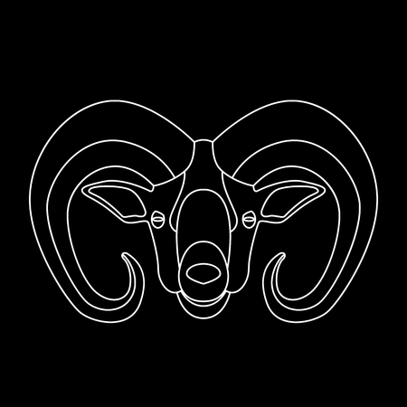 ram head, vector illustration ,  lining draw, front view