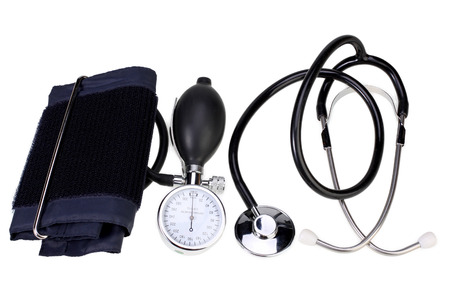 Foto de Blood pressure monitor and stethoscope  isolated on white with Clipping Path - Imagen libre de derechos