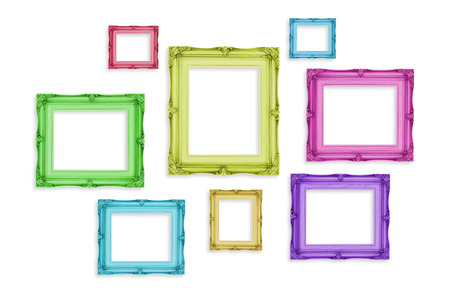 Photo for Vintage colorful photo frames isolated on white background,Template mock up for adding your picture. - Royalty Free Image