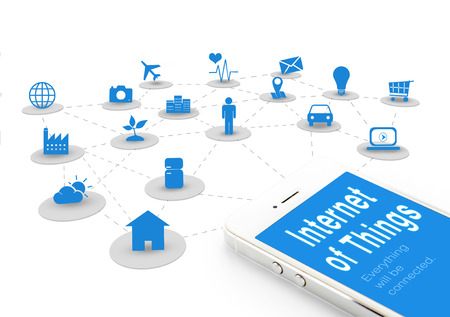 Foto de Smart phone with Internet of things (IoT) word and objects icon connecting together,Internet networking concept. - Imagen libre de derechos