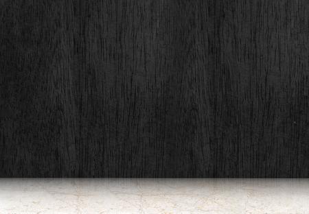 Foto de Empty room with black wood floor and white marble floor,perspective room. - Imagen libre de derechos