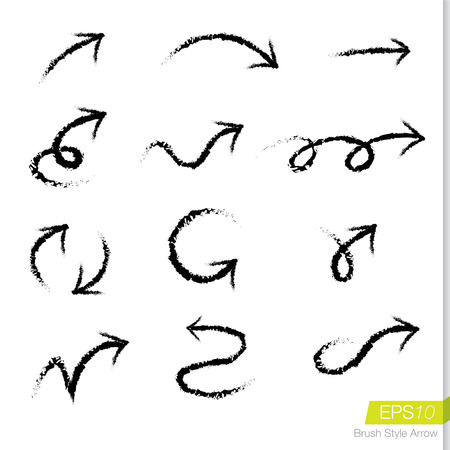 Illustration pour Set of doodle rough bursh arrows, Design element for business presentation. - image libre de droit