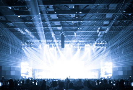 Photo for Blurred background : Bokeh lighting in concert with audience ,Music showbiz concept. - Royalty Free Image