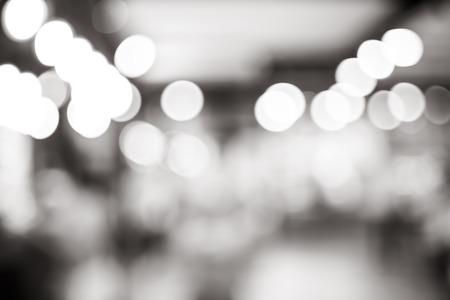 Foto de Black and white blur background, bokeh light at coffee shop. - Imagen libre de derechos