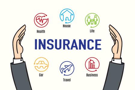 Illustration pour Vector : Hand protect Insurance feature icon,Insurance business concept. - image libre de droit