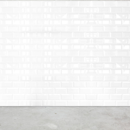 Photo for Room perspective,white ceramic tile wall and cement ground. - Royalty Free Image