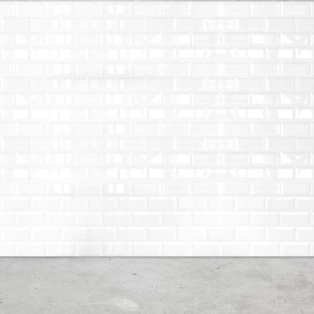 Photo pour Room perspective,white ceramic tile wall and cement ground. - image libre de droit